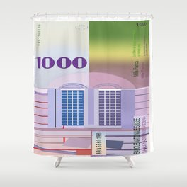 1000 Swiss Francs note bill Shower Curtain