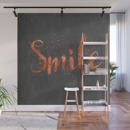 Smile motivating handlettering watercolor style Wall Mural