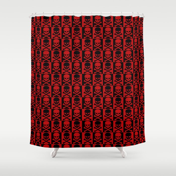 Red Skulls Shower Curtain