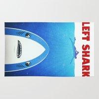 meme Area & Throw Rugs featuring Left Shark Parody - Jaws - Funny Movie / Meme Humor by badbugs_art