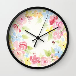 Flower Wreath Wall Clock