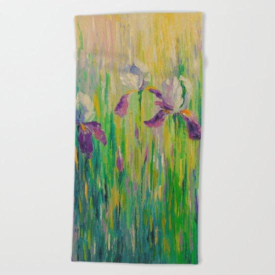 Morning with irises Beach Towel