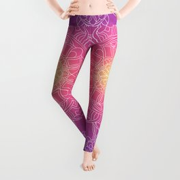 White Lace Mandala in Purple, Pink, and Yellow Leggings