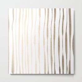 White Gold Sands Ink Pinstripes Metal Print