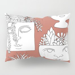 Illustrated Plant Faces in Terracotta Pillow Sham