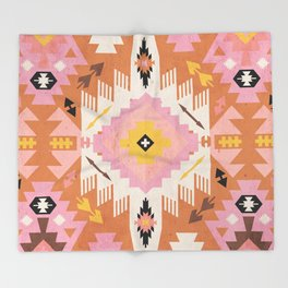 Tribal Kilim Orange Throw Blanket