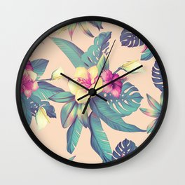 Blush Tropical Flowers Wall Clock