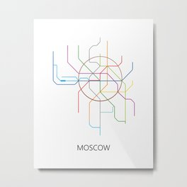 Moscow Metro Map Russian Underground Train Lines Metal Print
