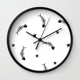 Star Fish (white & black) Wall Clock