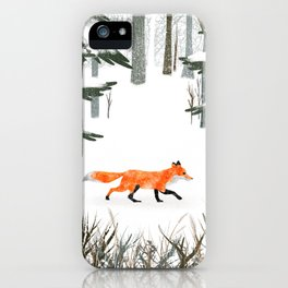 Fox In A Late Winter Snowfall iPhone Case