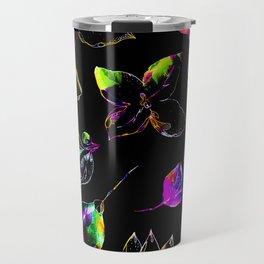 black vivid floral Travel Mug
