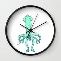 squid Wall Clocks featuring Squid by idrewthestars
