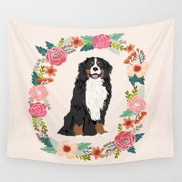 bernese mountain dog floral wreath dog gifts pet portraits Wall Tapestry