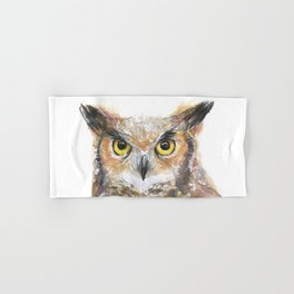 Owl Great Horned Owl Watercolor Hand & Bath Towel