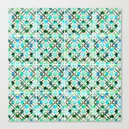 Blue Morrocan Tiles watercolot Canvas Print