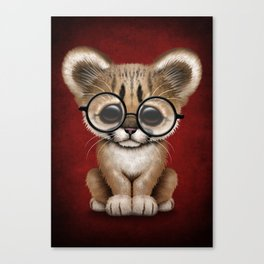 Cute Cougar Cub Wearing Reading Glasses on Red Canvas Print