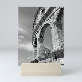 arena amphitheatre pula croatia ancient high black white Mini Art Print