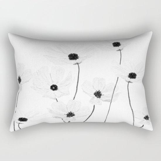 black and white cosmos Rectangular Pillow