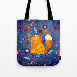 The Smart Fox in Flower Garden Tote Bag