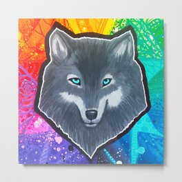 Rainbow Wolf Metal Print