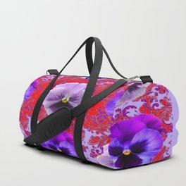 RED & PURPLE PANSIES GARDEN PATTERN Duffle Bag