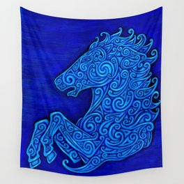 Blue Celtic Horse Abstract Spirals Wall Tapestry