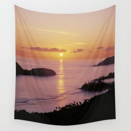 Sunset on Mahe island, the Seychelles Wall Tapestry