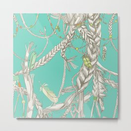 Pattern with girlish braids, hair, wind and feathers Metal Print