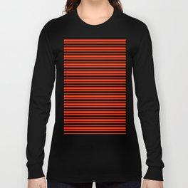 Bright Red and Black Horizontal Var Size Stripes Long Sleeve T-shirt