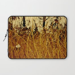 Snow covered pond reeds Laptop Sleeve