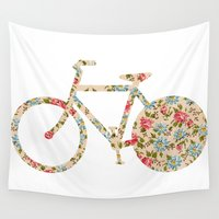 preppy Wall Tapestries featuring Whimsical cute girly floral retro bicycle by Girly Trend