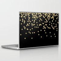 bisexual Laptop & iPad Skins featuring Sparkling golden glitter confetti on black by Better HOME