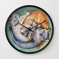 cuddle Wall Clocks featuring Cuddle Cats by Lucy's Visual Fling