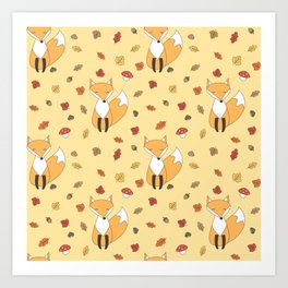 cute autumn pattern with leaves, foxes, mushrooms, acorns and chestnuts Art Print
