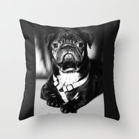pug Throw Pillows featuring Pug by Falko Follert Art-FF77