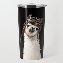 Cool Pilot Llama in Black Travel Mug