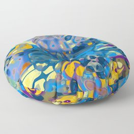 Blue Abstract Mashup Floor Pillow