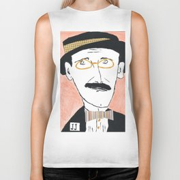James Joyce with a Hat and Glasses Biker Tank