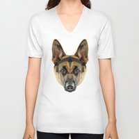 german shepherd V-neck T-shirts featuring German Shepherd // Blue by peachandguava
