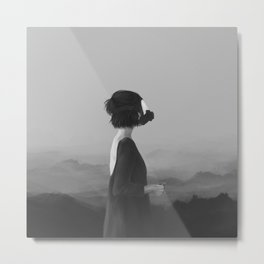 Girl with a gas mask Metal Print