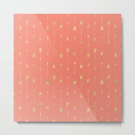 Coral And Gold Glitter Arrow Pattern Metal Print