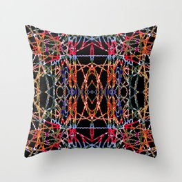 Multi Color Stringy Waves On Black Throw Pillow