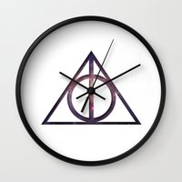 deathly hallows Wall Clocks featuring Deathly Hallows by Levi Allred