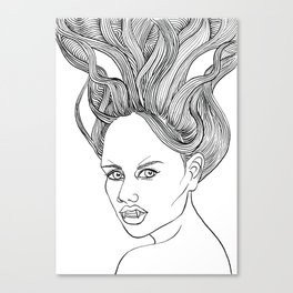 Halloween Vampire Girl Ink Drawing Canvas Print