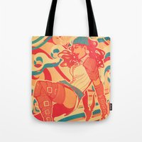 dragon age Tote Bags featuring Dragon Age: Isabela by Sara Cuervo