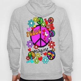 Imagine Peace Sybols Retro Style Hoody