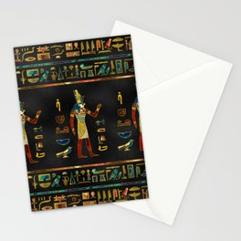 Egyptian  Gold, Teal and Red  glass pattern Stationery Cards
