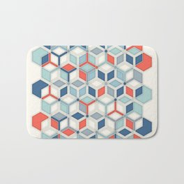 Soft Red, White & Blue Hexagon Pattern Play Bath Mat