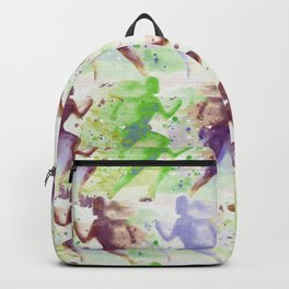 Watercolor women runner pattern Brown green blue Backpack