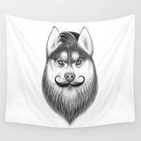 husky Wall Tapestries featuring bearded husky by NikKor